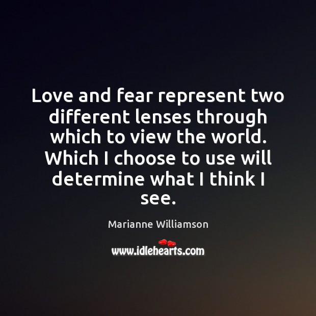 Love and fear represent two different lenses through which to view the Image