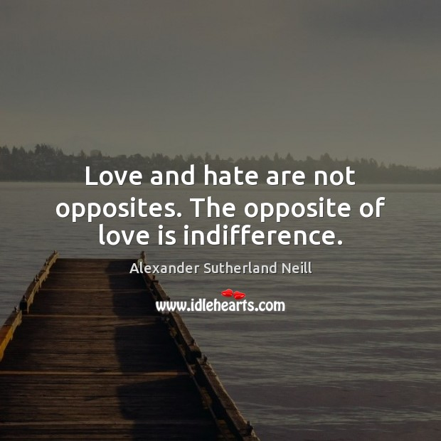 Image, Love and hate are not opposites. The opposite of love is indifference.