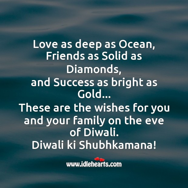 Love as deep as ocean Diwali Messages Image