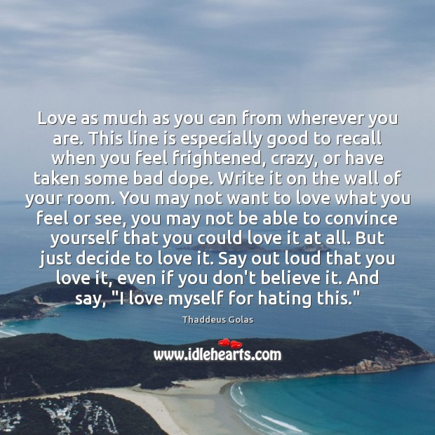 Love as much as you can from wherever you are. This line Thaddeus Golas Picture Quote