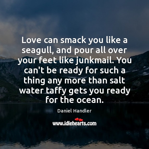 Love can smack you like a seagull, and pour all over your Daniel Handler Picture Quote
