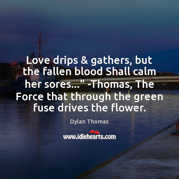 """Love drips & gathers, but the fallen blood Shall calm her sores…"""" -Thomas, Image"""