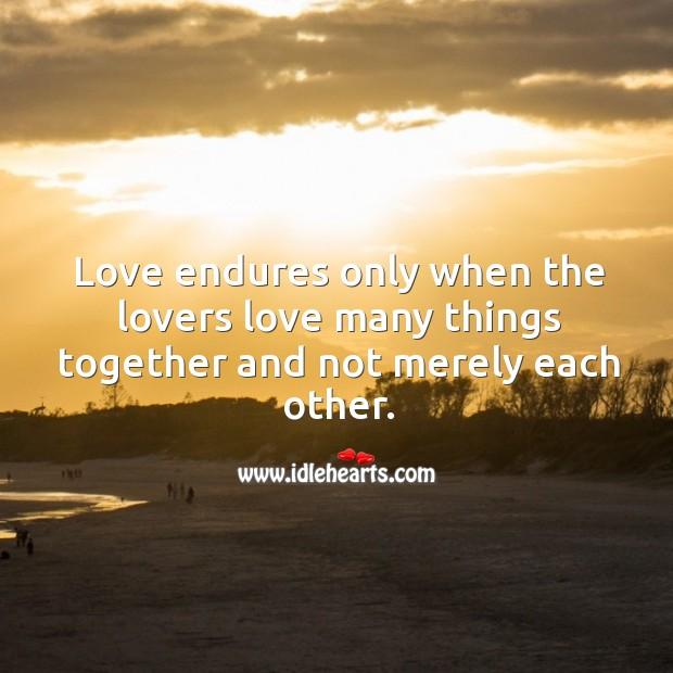 Image, Love endures only when the lovers love many things together.