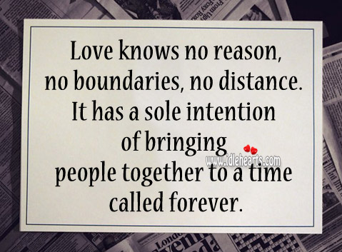 Love has a sole intention of bringing people together Image