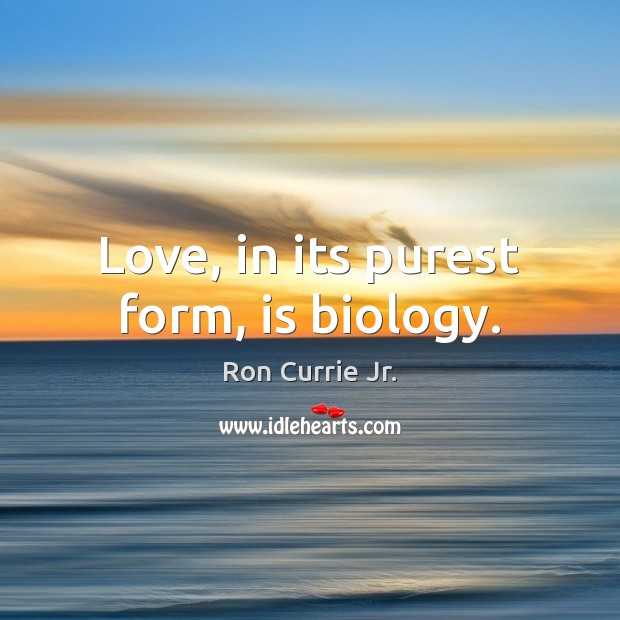Love, in its purest form, is biology. Ron Currie Jr. Picture Quote