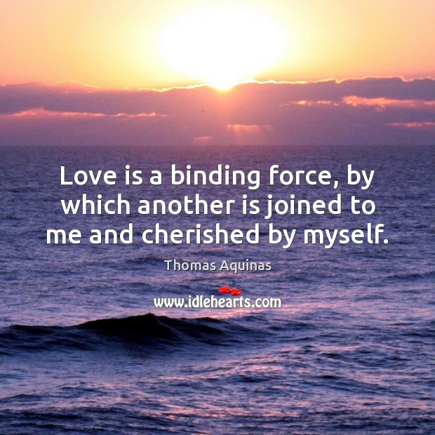 Love is a binding force, by which another is joined to me and cherished by myself. Image