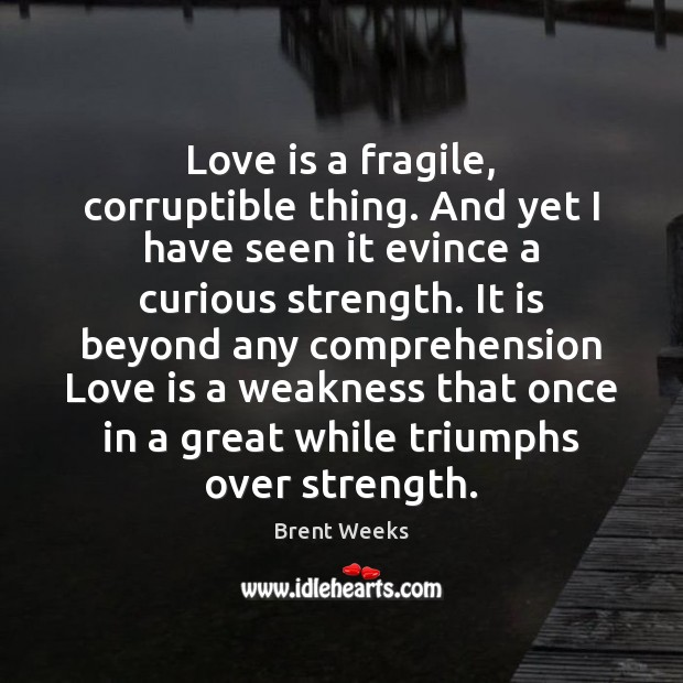 Image, Love is a fragile, corruptible thing. And yet I have seen it