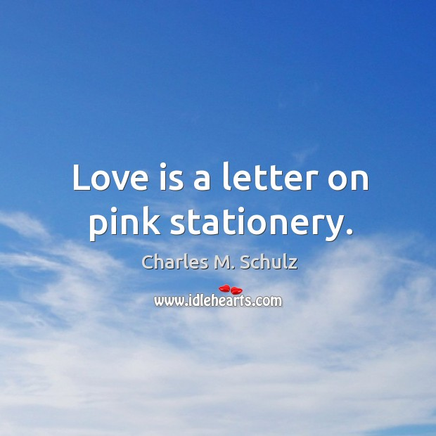 Image, Love is a letter on pink stationery.