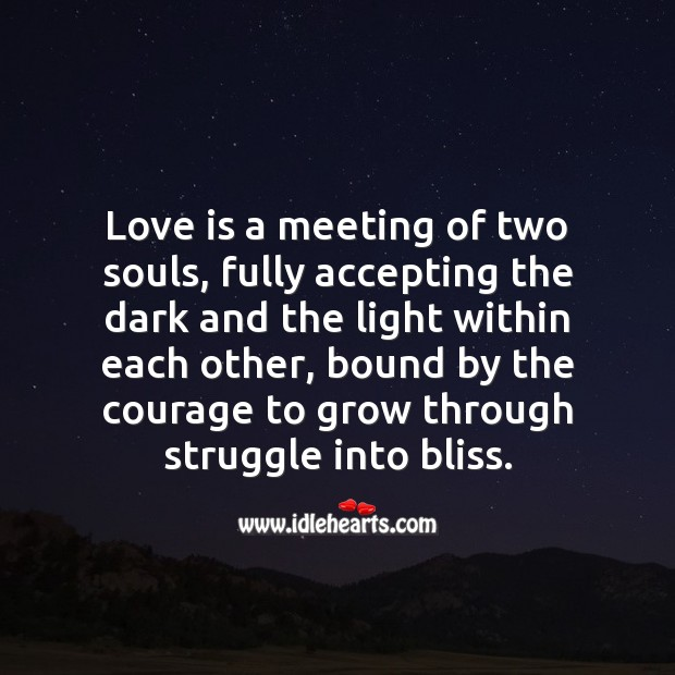 Love is a meeting of two souls. Beautiful Love Quotes Image