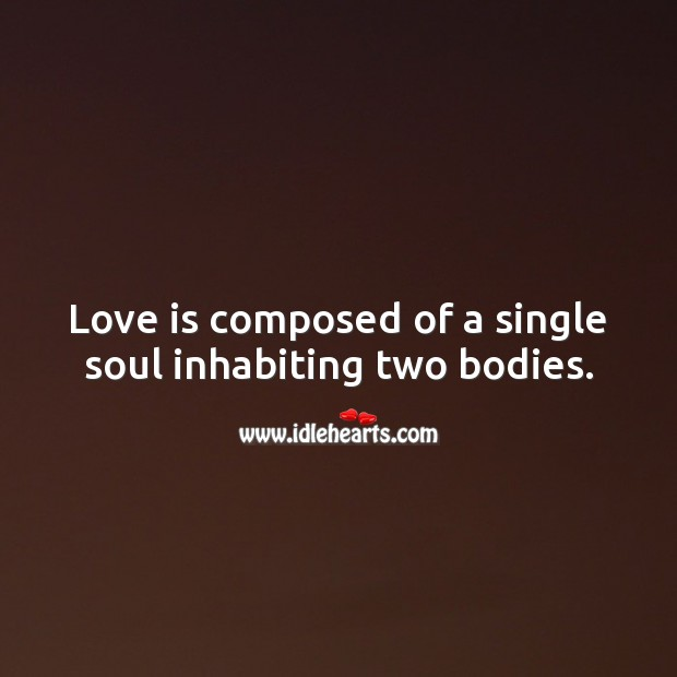 Love is a single soul inhabiting two bodies. Image