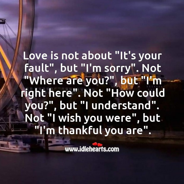 Love is all about Thankful Quotes Image
