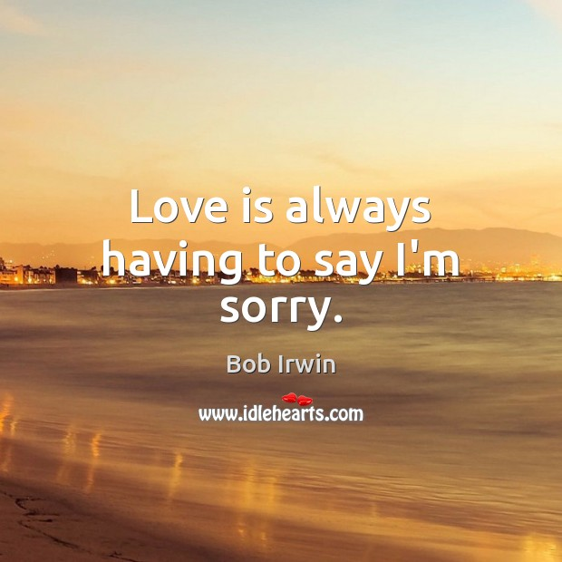 Love is always having to say I'm sorry. Image