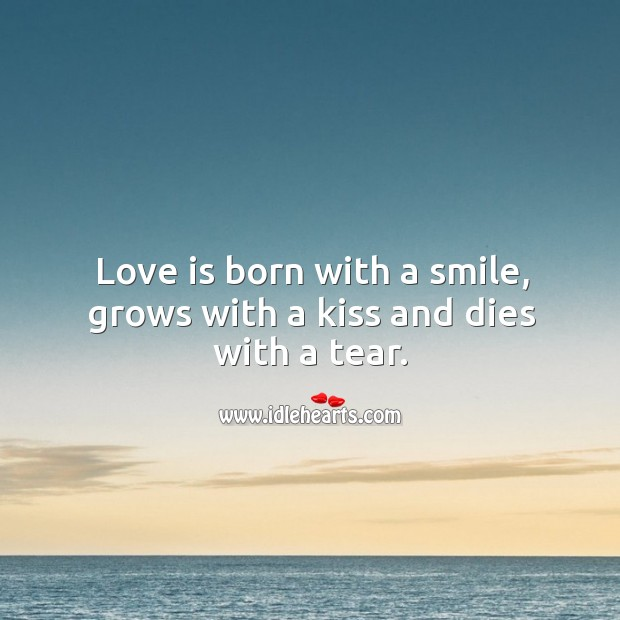 Image, Love is born with a smile, grows with a kiss and dies with a tear.