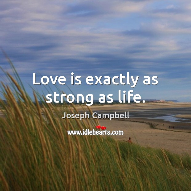 Love is exactly as strong as life. Image