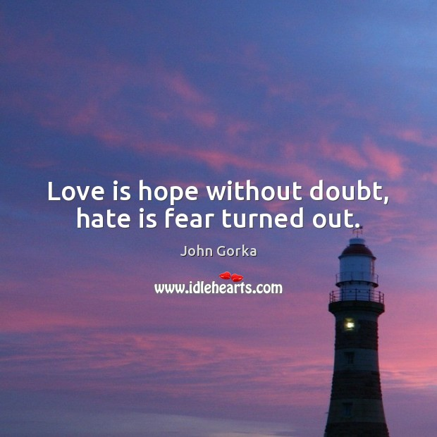 Image, Love is hope without doubt, hate is fear turned out.