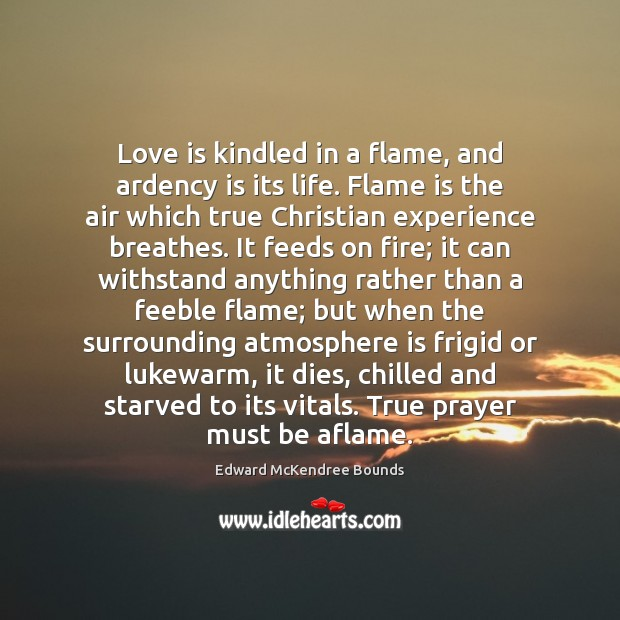 Love is kindled in a flame, and ardency is its life. Flame Image