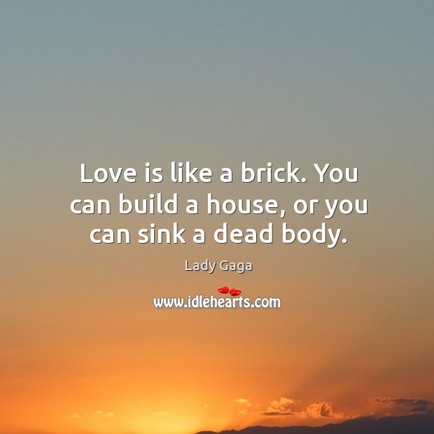 Love is like a brick. You can build a house, or you can sink a dead body. Image