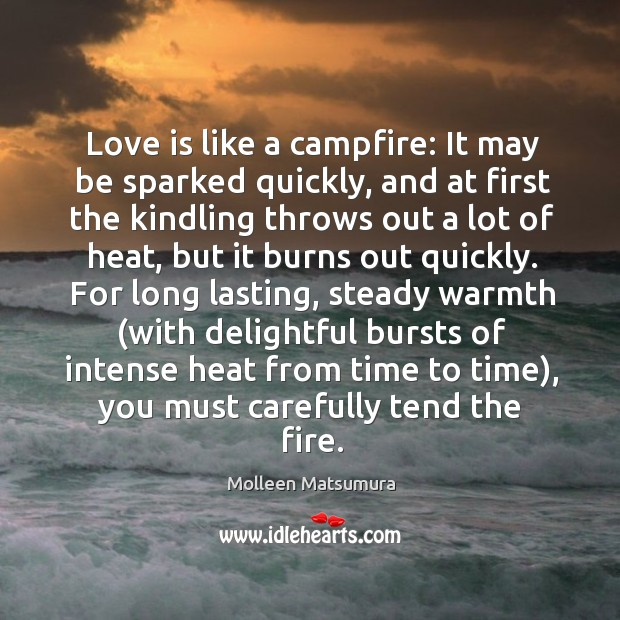 Love is like a campfire: it may be sparked quickly, and at first the kindling throws out a lot of heat Image