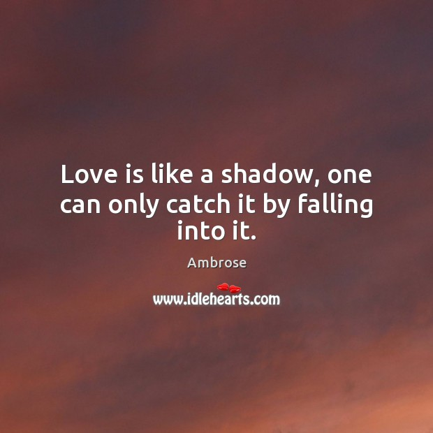 Image, Love is like a shadow, one can only catch it by falling into it.