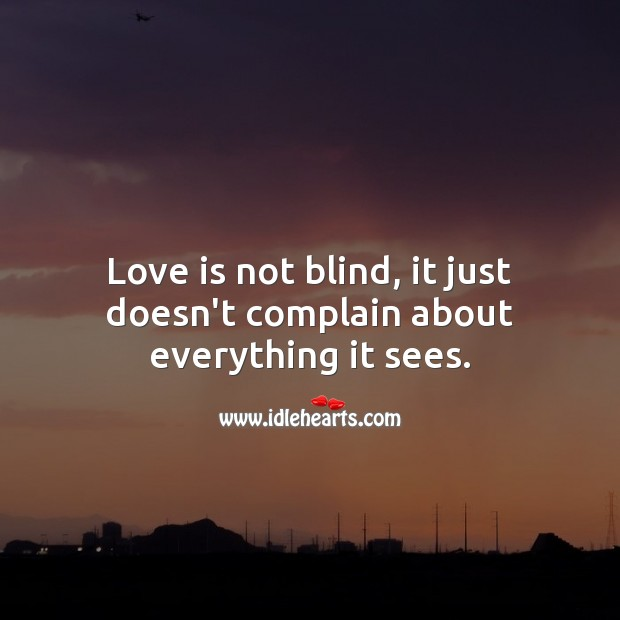 Love is not blind, it just doesn't complain about everything it sees. Love Is Quotes Image