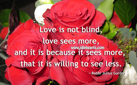 Image, Love is not blind, love sees more