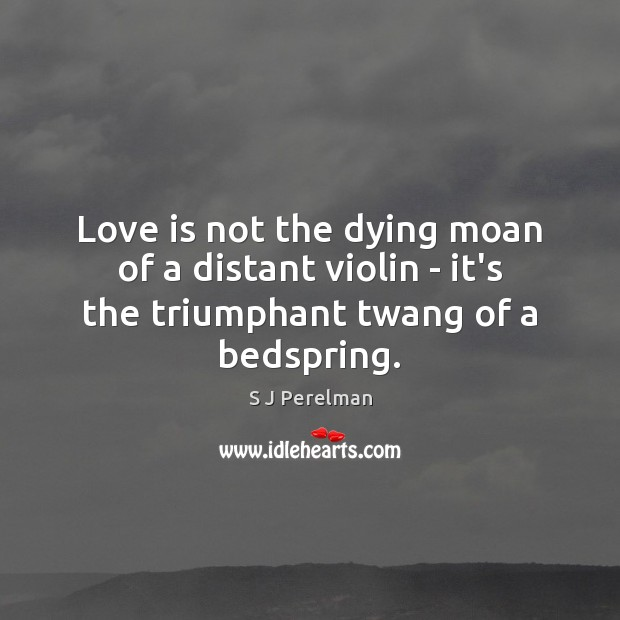 Love is not the dying moan of a distant violin – it's the triumphant twang of a bedspring. Image
