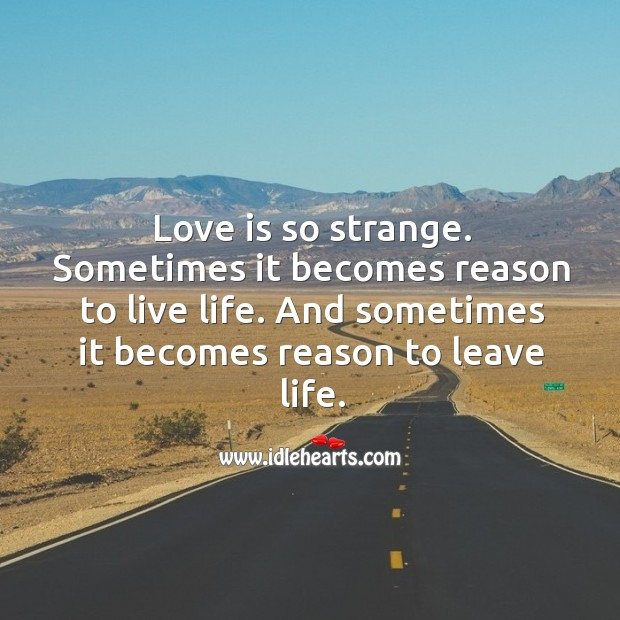 Image, Love is so strange. Sometimes it becomes reason to live life.