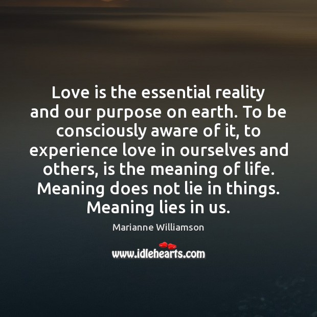 Love is the essential reality and our purpose on earth. To be Image