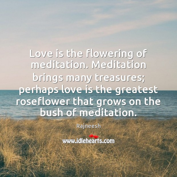 Image, Love is the flowering of meditation. Meditation brings many treasures; perhaps love