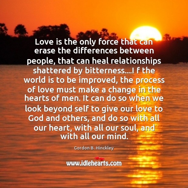 Image, Love is the only force that can erase the differences between people,