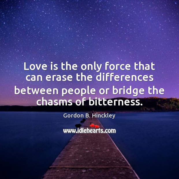 Love is the only force that can erase the differences between people Image