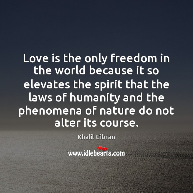 Image, Love is the only freedom in the world because it so elevates