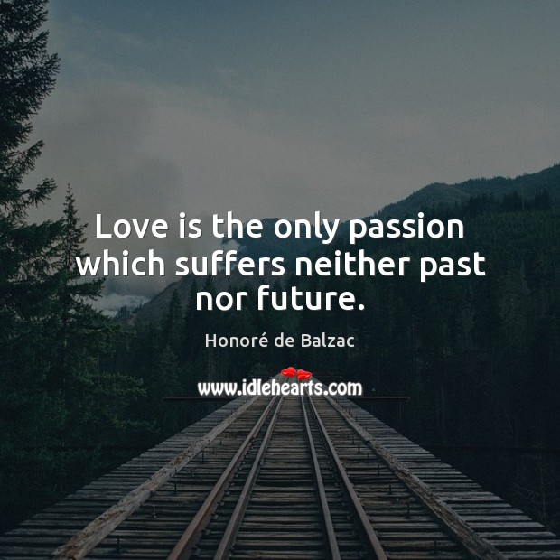 Image, Love is the only passion which suffers neither past nor future.