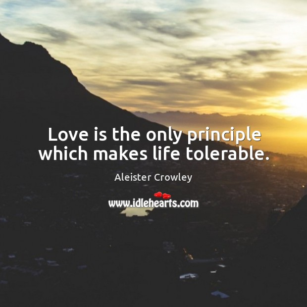 Love is the only principle which makes life tolerable. Image
