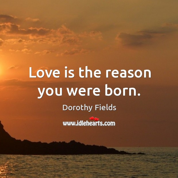 Love is the reason you were born. Dorothy Fields Picture Quote