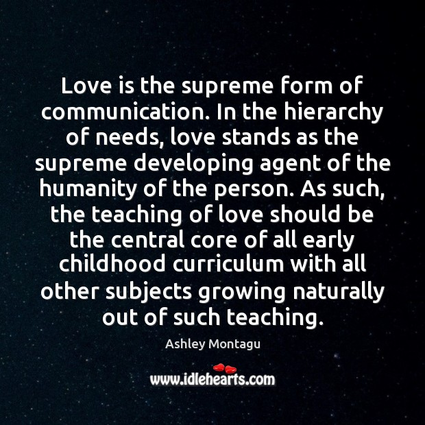 Love is the supreme form of communication. In the hierarchy of needs, Image