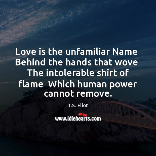 Love is the unfamiliar Name  Behind the hands that wove  The intolerable Image