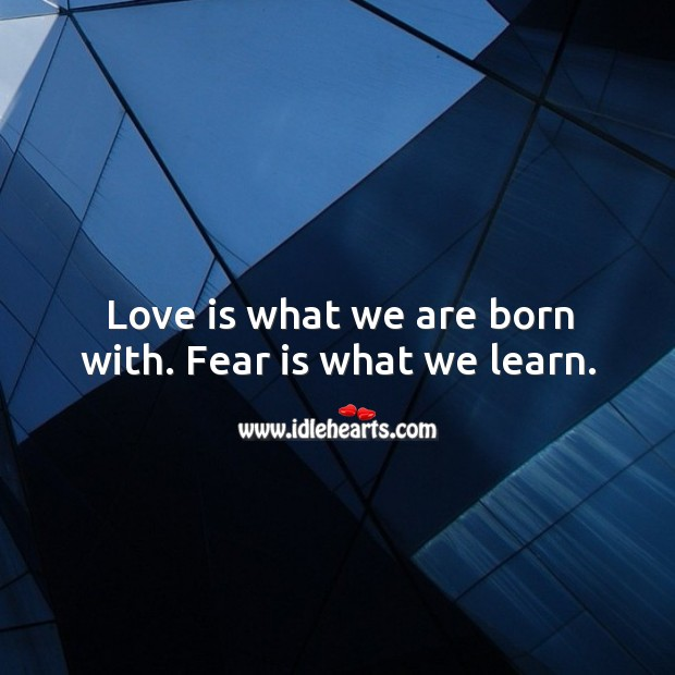 Love is what we are born with. Fear is what we learn. Fear Quotes Image
