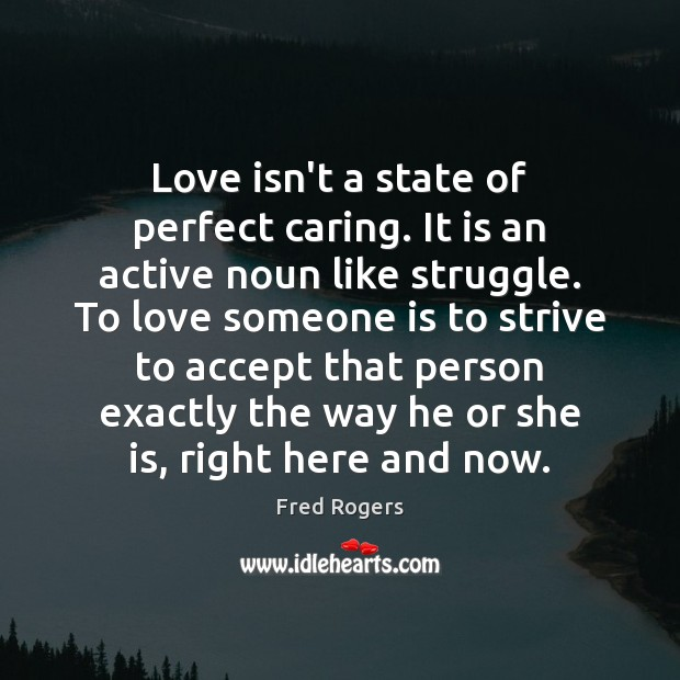 Love isn't a state of perfect caring. It is an active noun Image