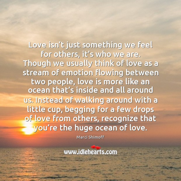Love isn't just something we feel for others, it's who Emotion Quotes Image