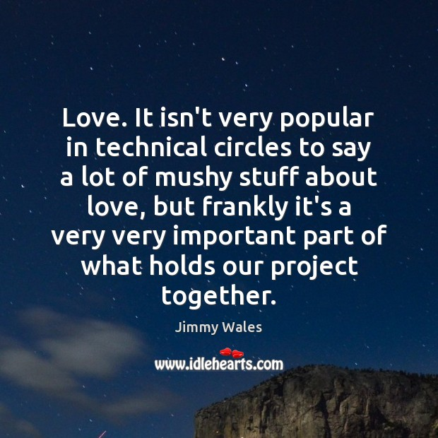 Love. It isn't very popular in technical circles to say a lot Jimmy Wales Picture Quote