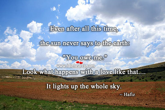 Love lights up the whole sky. Earth Quotes Image