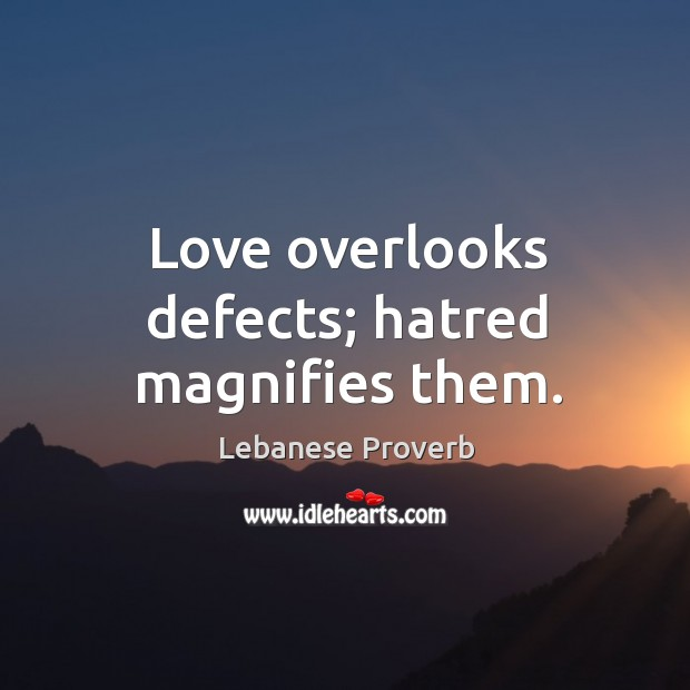 Love overlooks defects; hatred magnifies them. Lebanese Proverbs Image