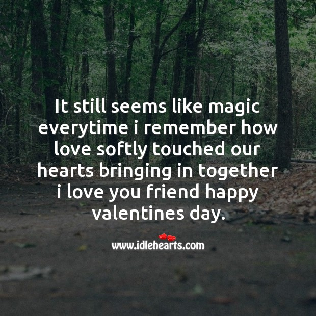Love softly touched our hearts Valentine's Day Quotes Image