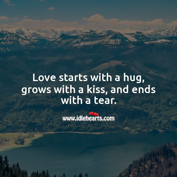 Image, Love starts with a hug, grows with a kiss, and ends with a tear.