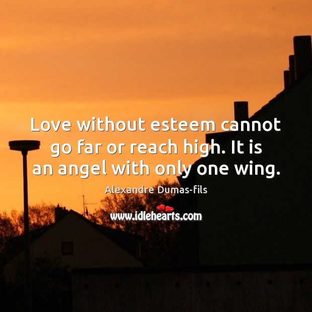 Image, Love without esteem cannot go far or reach high. It is an angel with only one wing.