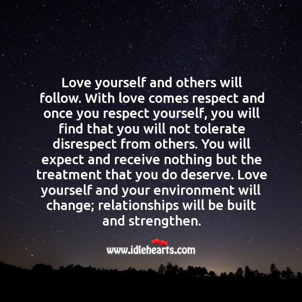 Image, Love yourself and others will follow.