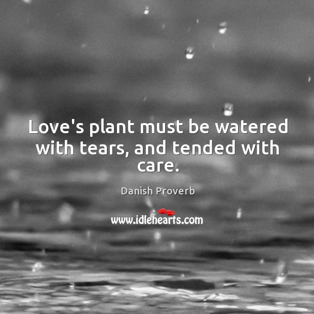 Image, Love's plant must be watered with tears, and tended with care.