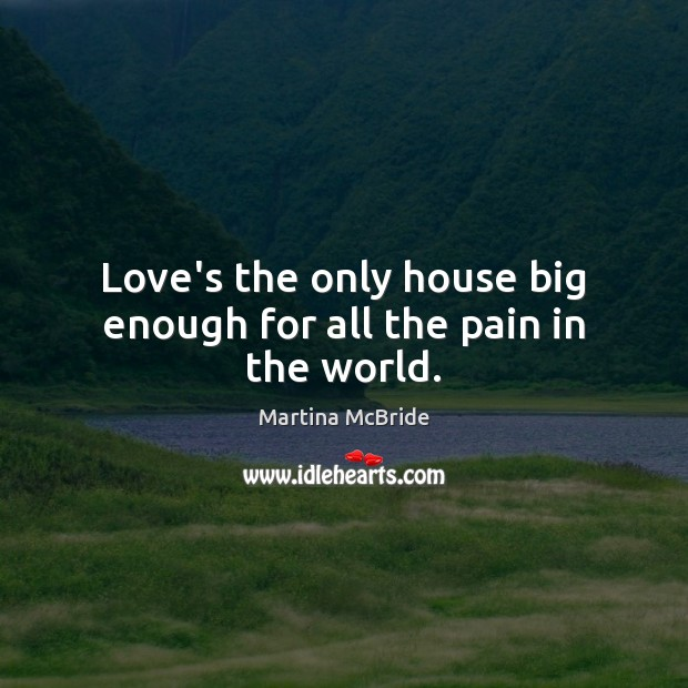 Love's the only house big enough for all the pain in the world. Martina McBride Picture Quote
