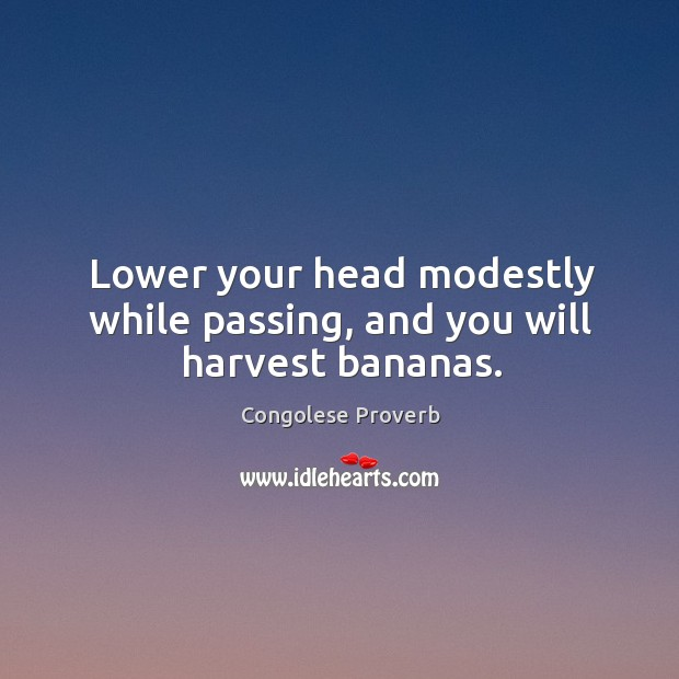 Lower your head modestly while passing, and you will harvest bananas. Congolese Proverbs Image